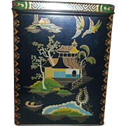 Daher Cobalt Blue Asian Pagoda Oriental Theme Tin Box Hinged Lid Made in England