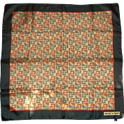 Daniel la Foret Silk Scarf Made in Italy Red Navy Beige Geometric Abstract Design