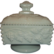 Westmoreland Beaded Grape Milk Glass Covered Candy Box Jelly Jam Condiment Dish Lid