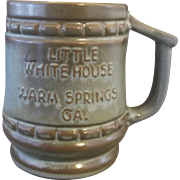 SALE Frankoma Little White House Warm Springs GA Souvenir Mug Woodland Moss Brown Green Glaze