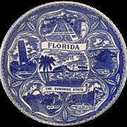 SOLD Florida Blue Transferware Souvenir Plate The Sunshine State Pre Disney
