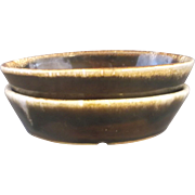Western Stoneware Monmouth Pottery Brown Drip Oval Bowls 8 OZ Maple Leaf Mark