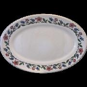 SALE Sterling China Restaurant Ware Oval Platter 14 IN Blue Pink Floral Rim