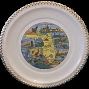 SOLD Florida Map Souvenir Pre Disney Plate Full Color Gadroon Border Gold Trim
