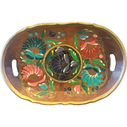 SALE Mexican Batea Tole Hand Painted Floral Wood Oval Tray Bowl Folk Art Lacquer