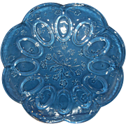 Anchor Hocking Savannah Deviled Egg Plate 12 IN Round Clear Glass Flowers