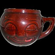 McCoy Brown Glaze Face Mug Paint Missing Marked USA Pottery