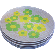 Spring Green Yellow Flower Power Melmac Dinner Plates Apollo Ware by Alexander Beard
