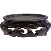 Carved Wooden Base 3 1/4 IN Display For Bowl or Vase