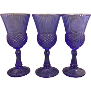 Avon George Martha Washington Blue Frosted Cameo Glass Goblets Set of Seven