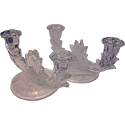 SOLD Fostoria Baroque Wheat Cutting Double Light Candle Holders Pair