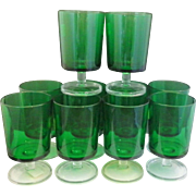 SOLD Luminarc France Emerald Green Clear Stem Foot Cavalier Water Goblets Footed Tumblers Glas
