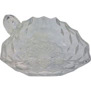 SALE Fostoria American 3 Corner Nappy Handled Bowl Clear Glass