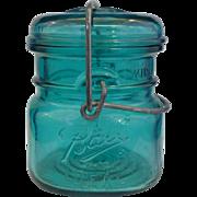 SOLD Ball Bicentennial Half Pint Green Teal Blue Glass Canning Jar Wire Bale 1976 Eagle