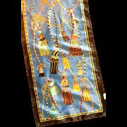 Berkshire Polyester Satin Oblong Scarf Rope Tassels Blue Black Red Gold