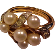 Avon Evening Sophistication Faux Pearl Rhinestones Cluster Dinner Ring 1971
