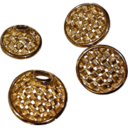 Sarah Coventry Gold Tone Basket Weave Pin Brooch Pair Clip Earrings 1960s