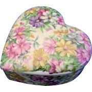 Nikoniko Hand Painted Floral Porcelain Heart Trinket Box Japan