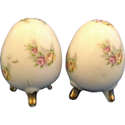 Enesco Porcelain Egg Shaped Salt Pepper Shakers Three Toe Footed