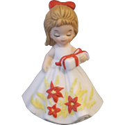 SOLD George Good Christmas Girl December Porcelain Figurine Poinsettias Present 1974 - Red Tag