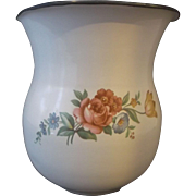 SOLD White Enamel Flower Transfer Decorated Cobalt Blue Trim Small Pitcher Cream Milk Juice