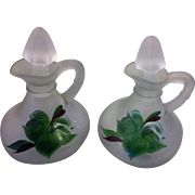 Gay Fad Ivy Frosted Satin Glass Cruets Pair With Stoppers