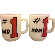 SOLD Fire King #1 Mom #1 Dad Milk Glass Mugs Pair Red Black