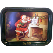 SALE Coca-Cola Dear Santa  Tray Children Green Border 1980s