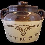 Western Stoneware Monmouth Pottery Texas Longhorn Small Bean Pot