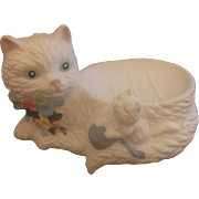 House of Lloyd White Bisque Cat Kitten Soap Dish