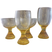 Yellow Topaz Glass Ribbed Pedestal Foot Tumblers Goblets Set of 4 Mixed