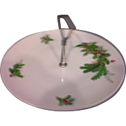 SALE Seltmann Weiden Bavaria W Germany Holly Christmas Tidbit Porcelain Plate Center Handle