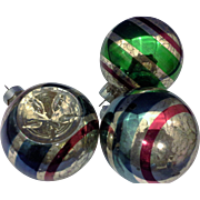 Vintage Blown Glass Striped Red Green Blue Christmas Ornaments Made in USA