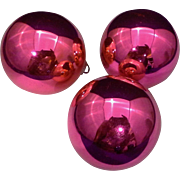 "SALE Shiny Brite Hot Pink Blown Glass 2 1/4"" Set of 3 Ball Ornaments"
