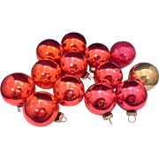SALE Shiny Brite Red Pink Gold Ball Blown Glass Ornaments 14 1 5/8 IN