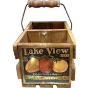 SALE Lake View Brand Pajaro Valley Apples Wooden Divided Basket Advertising