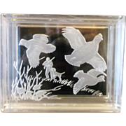 SALE Reverse Carved Lucite Trinket Box Game Birds Pheasant Quail Hunting