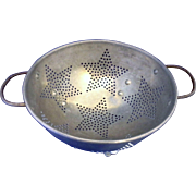 Star Pierced Pattern Aluminum Colander Strainer Vintage