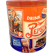 Pepsi Cola Vintage Advertising Popcorn Tin Olive Can Co Houston Foods 1993