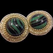 Green Black Stripes Gold Flecks Round Stone Glass Earrings