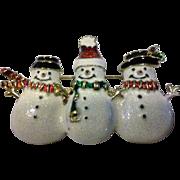 Snowman Snowmen Glitter Enamel Pin Christmas Winter