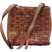 SOLD Etienne Aigner Cognac Brown Woven Leather Tote Purse Handbag Wyoming