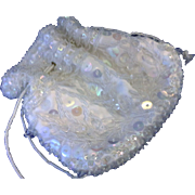 White Satin Clear Glass Seed Beads Iridescent Sequins Drawstring Purse Made in Hong Kong ...