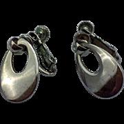 Napier Silver Tone Teardrop Hoop Dangle Earrings Screwback Clips