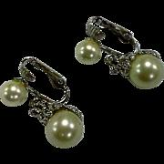SALE Marvella White Faux Pearl Silver Tone Clear Rhinestone Drop Earrings