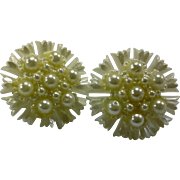 Faux Pearl Plastic Flower Clip Earrings Large 1950s