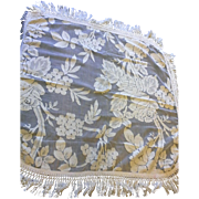 Cream Ecru Lace Tablecloth Set of 4 Deep Fringe Rounded Corners