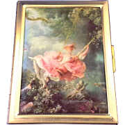 Victorian Lady Pink Dress Swinging Satin Printed Lid Photo Compact Gold Tone
