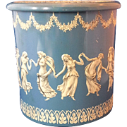 Blue White Embossed Round Tin Made in Holland Jasperware Look Wedgwood Style