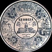 Georgia Blue Transferware Souvenir Plate ENCO Fine American Ironstone